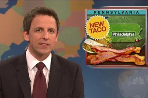 "Yes, our famous Bacon Taco was just featured on Saturday Night Live. While we didn't appreciate the jab at Philly (SNL's Seth Meyer's said, ""No matter how good it tastes, you're still in Philly""), we were pretty excited seeing our creation on the show. And even cooler news? We are keeping our infamous Bacon Taco around! Come on down and chomp into this miracle of bacon science."