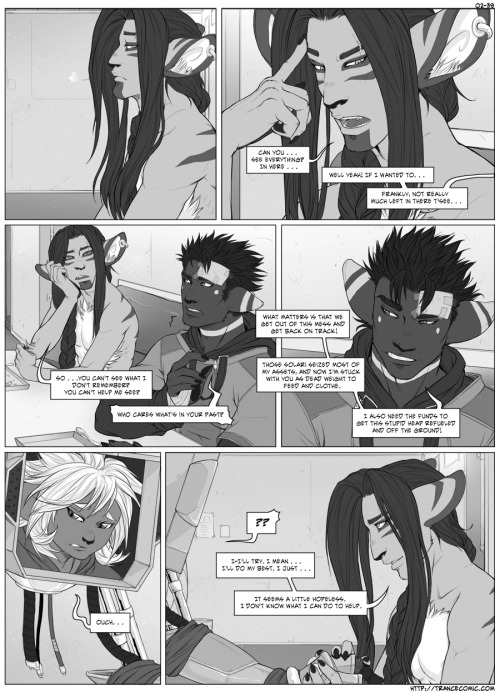 Trance page 39 is up. Sadly, I couldn't quite get the tones done in time, so it's sans those at the moment. I'll try and complete them later and update this post but I have a lot of paid work to catch up on, and that does take priority. Ok, tones are done now guys. : D Sorry that's all the update I can handle at the moment. That and the book preparations. God. My life. Right now…*dies* Anyway, as always the site is here http://trancecomic.com if you want to comment or check out any other goodies.