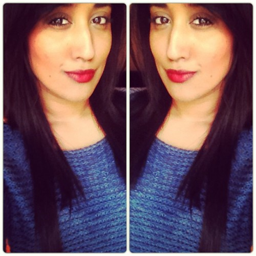 Whoa 2 of me! Weeeiiird! Do love a bit of red on my lips.    @topshop hazard red mixed with @dior  rouge creme de gloss number 845.  #priyapout #pout #red #lipstick #blue #chaneljumper #chanel #knitwear #lips #chanelmascara #makeup #iphone #ipad #instafilter #picstitch #ingrammers #igdaily
