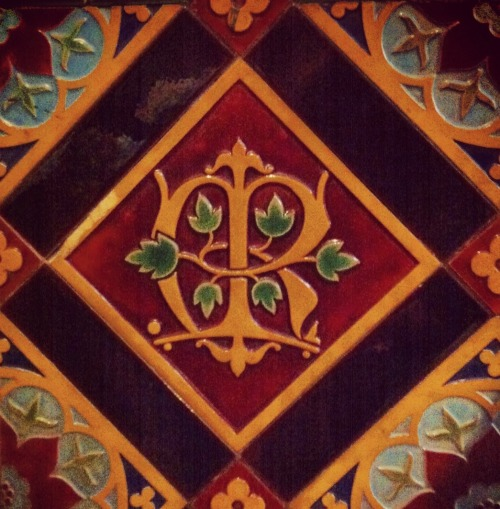 allaboutmary:  A neo-Gothic tile with a Marian monogram in the church of Onze Lieve Vrouw (Our Lady) in Amsterdam.