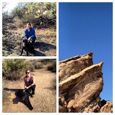 Day 19: Collage. Pictures from our hike at Vasquez rocks on Monday:) #febphotochallenge #boyfriend #puppy #hiking #fitness