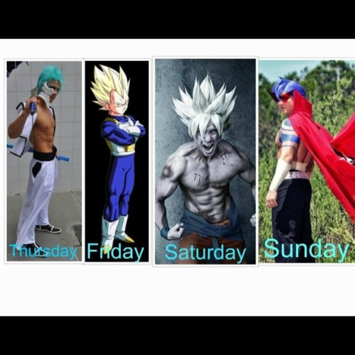 My Fanime 2013 Cosplay Lineup Thursday: Grimmjow  Friday: SSJ Vegeta  Saturday: SSJ Goku  Sunday: Kamina   #cosplay #cosplayer #anime #manga #dbz #dragonball #dragonballz #goku #vegeta #bleach #grimmjow #kamina #ttgl #follow #followme #igers #igdaily #igaddict #like