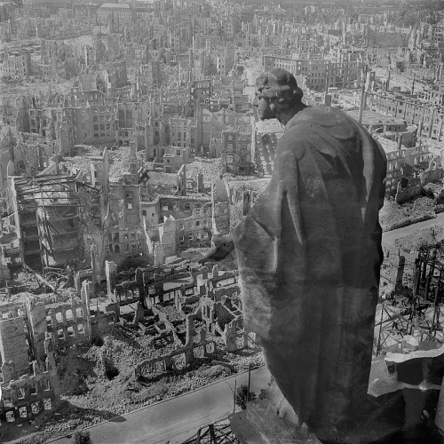 The iconic view of Dresden seen from the tower of the Rathaus, shot by Peter Pöppelmann. Autumn 1945.