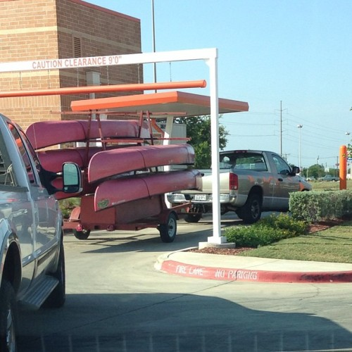 In what world is it ever OK to do the drive thru with five canoes?!