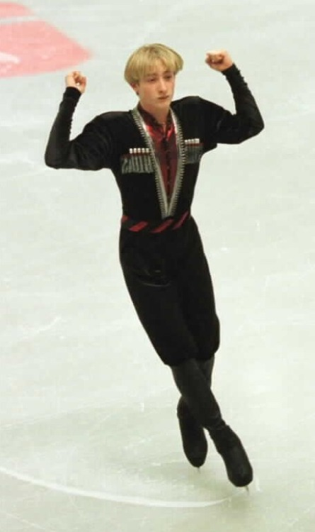 Evgeni Plushenko skating to Sabre Dance at the 1999 Sparkassen Cup. Photo by Barry Mittan.