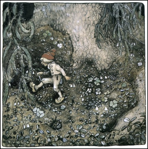 aleyma:  John Bauer, Illustration for Alfred Smedberg's The Trolls and the Youngest Tomte, 1909 (source).