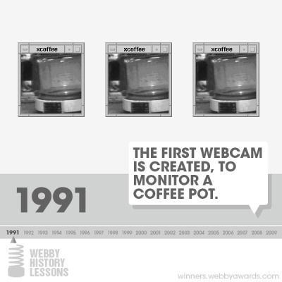 LAZINESS IS CREATIVITY'S BEST TOOL  pegobry:  webbys:  In 1991, the first Webcam is invented in the Cambridge University Computer Lab, allowing users to check coffee pot levels without moving.   Their laziness was technology's gain.  Explore the best of Internet history.   The greatest innovators are the creatively lazy.