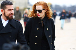 oliveratwood:  Jessica Chastain at Paris Fashion Week
