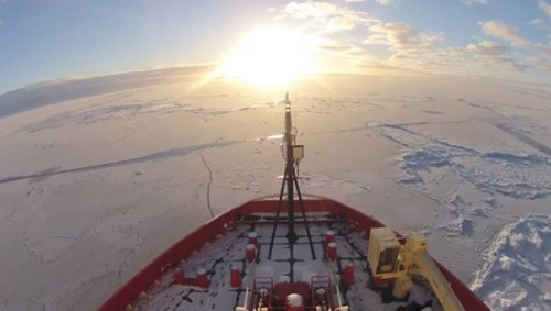 Amazing video brings Antarctic to life The icebreaker ship eventually met a colony of penguins that are included in the video as well.