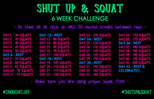enoughfluff:   enoughfluff:   SHUT UP & SQUAT CHALLENGE STARTS TOMORROW! Starting tomorrow, Friday April 26th 2013, I can officially workout again post-surgery! What a  better way than with a CHALLENGE? 6 weeks to get from 30 squats to 200 squats a day! All while toning up that boo-tay of yours. Give that bum a boost, but be sure to practice proper squat form! Pre and post pictures will be posted. Well…if I'm brave enough :) Reblog to get the word out!  Who's in with me?   We're on day 4 if anyone wants to join in! It's never too late to hop in or start from day 1! :) 45 squats in the books. Tomorrow is 50! HAVE YOU DONE YOUR SQUATS TODAY?    Day 1 complete.