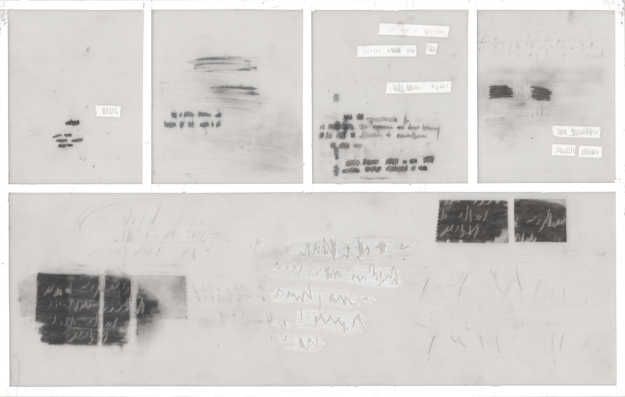 Erin Curry - abstract comic no 3 - graphite, tape, whiteout tape, scratches on translucent mylar