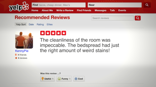A hotel in upstate New York is threatening guests with a $500 fine if they give it a negative Yelp review. I went on Yelp and read some of the hotel's reviews. And they're all positive…