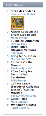I got a #10 Comedy Song in Luxembourg right now. Top that, Cool YouTuber Club!