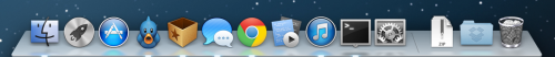 This is what is in my dock: Finder, Launchpad, App Store, Tweetbot, Reeder (Google Reader), Messages, Chrome, CodeRunner (a great, simple IDE), iTunes, Terminal, System Preferences, Downloads, Dropbox, Trash. I access everything else using Alfred. What's in yours?