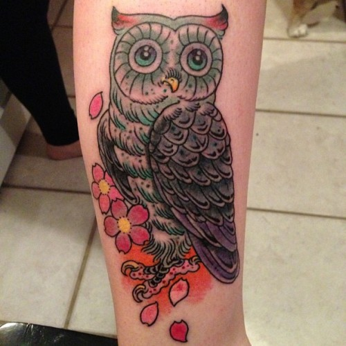 New #owltattoo for my sweet #babybailee by @brujoart