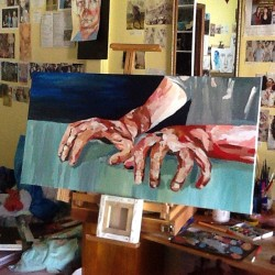 Progress and a messy room #art #artist #artwork #paint #painting #drawing #sketch #hands #progress #illustration #acrylic