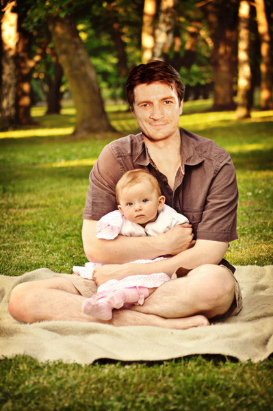 From the family photo album: Castle and baby Alexis. <manip>