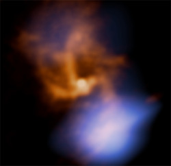 ikenbot:   The Super Massive Black Hole of Sagittarius A*  Astronomers using Herschel have spotted a cloud of incredibly hot gas very close to the supermassive black hole that lies at the heart of our Milky Way galaxy. The supermassive black hole goes by the name of Sagittarius A*, and weighs in at 4 million times the mass of our Sun. It is nearly 30,000 light years away at the very centre of our galaxy, but is still hundreds of times closer than other such black holes, which are usually found at the centres of large galaxies. Its relative proximity makes it the ideal target for studying these extreme environments in detail, though our view is often obscured by dense clouds of dust draped throughout the Milky Way. By studying it in far-infrared light, Herschel can see through this dust and examine the surroundings of the black hole itself. The black hole is surrounded by a ring of gas around 30 light years across, but right in the centre is a mini spiral of gas flowing inwards. Herschel observations taken in 2011 and 2012 allowed astronomers to examine the region within around a light year of the black hole itself. The data showed the presence of elements such as carbon, nitrogen and oxygen, as well as simple molecules including water, carbon monoxide and hydrogen cyanide.
