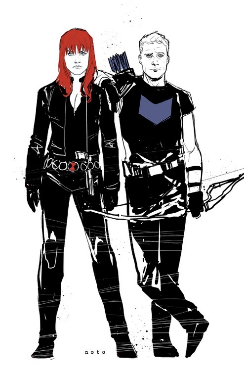 westcoastavengers:  Black Widow and Hawkeye by Phil Noto
