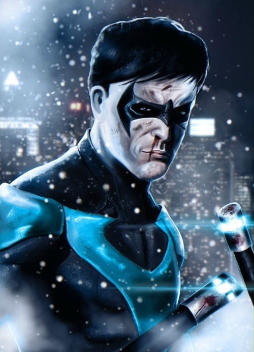 "youngjusticer:  ""Stick around… Get it?"" Nightwing, by Ryan Crosby. Who's excited for Arkham Origins!? 'Cause I know I am!?"