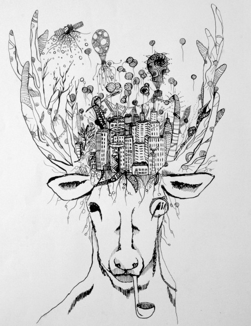"hitrecord:  ""Oh Deer (tiny illustration)"" Illustration by pantoufle == Contribute your Tiny Stories HERE!"