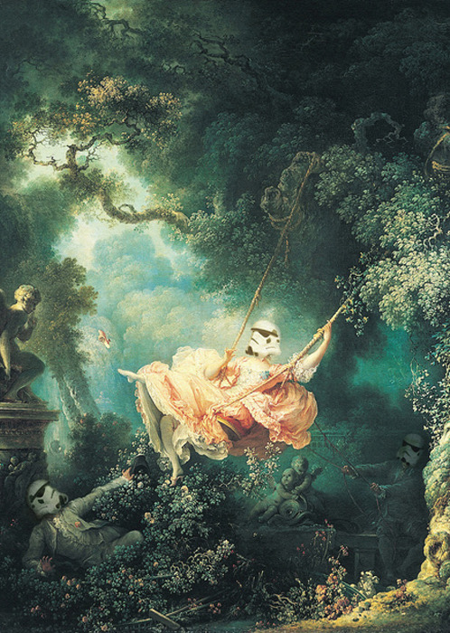 "septagonstudios:  Cisternas Homage To Fragonard ""The Swinging Stormtrooper"""