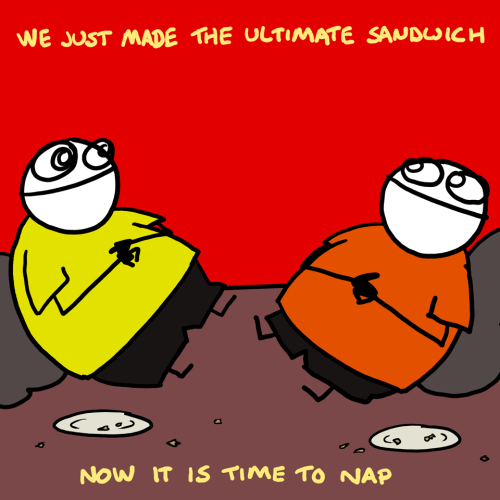 explodingdog:  We just made the ultimate sandwich Just got a note from Mike that he made the Ultimate Sandwich. I am not sure I would make one myself, but I would take a bite or two if someone made me one. (Ultimate Sandwich drawing is from the Explodingdog.com archives)   <3