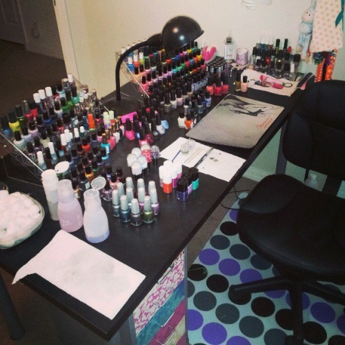 Why yes… That is indeed a second table.nail polish rack…. I must say, this makes this mess much more manageable and easier to prioritize… Plus it looks so damn pretty! I get my racks from transdesign.com #officialletthemhavepolish #nailpolish #nailporn #nailpolishcollection