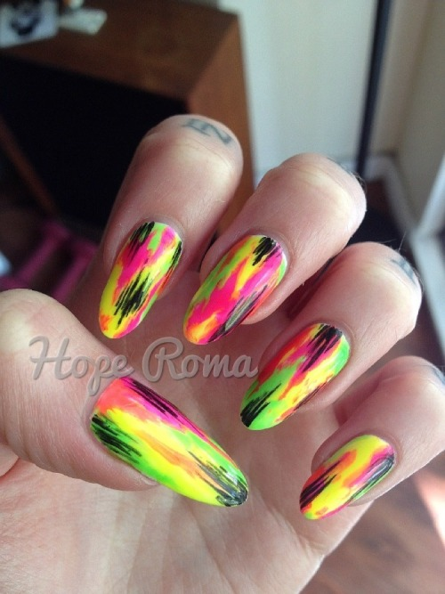 hoperoma:  Tie-dye set with Gelish gel polish <3