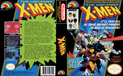 it8bit:  NES Box Art: The Uncanny X-Men The entire human race is in danger! Magneto and his band of evil mutants are on the rampage and nothing can stop them… except for you, professor Xavier and your uncanny X-Men. Cerebro, your advanced computer system, displays the different missions, all of which must be completed in order to accomplish your ultimate goal… the defeat of Magneto! Working with Wolverine, Cyclops, Storm, Colossus, Nightcrawler and Iceman, you select the best attack team for each battle based on their combination of superhuman skills. The X-Men must work together as a team in both the 1 player and 2 player games. The 2 player game features simultaneous control where cooperation and teamwork are essential… but be careful; once one of your super heroes is immobilized, they're out of action for the rest of the game. Good luck… humanity's fate is in your hands! Gameplay || Wiki