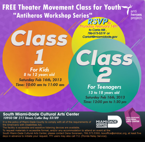 Hey Miami Mamas! Free theater movement class for kids + teens (8-18) on Sat, Feb 16!