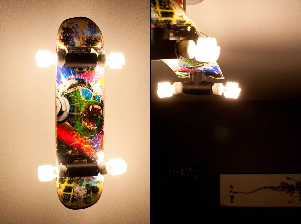 Skateboard wall light.