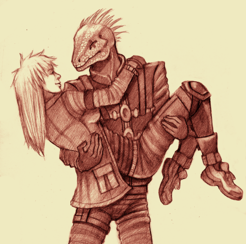 Kaiman and Nikaido. For the Dorohedoro Secret Santa exchange. I'm not sure if it's poor form to post this before the pairs are officially revealed, but I have an irresistible urge to post this. :3  Besides, someone totally posted their entry on DeviantArt already, so at least it's not just me. Hehe.