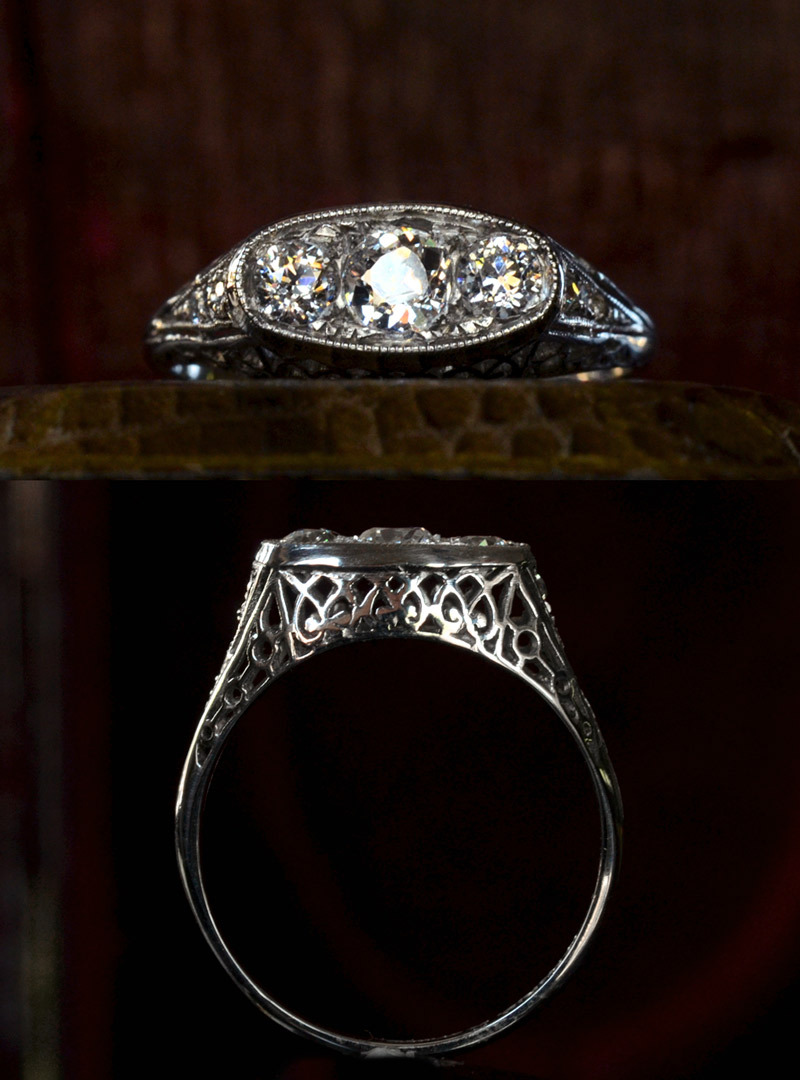 1910s Edwardian Three Diamond Filigree Ring,~0.50ctw European Cut Diamonds, Platinum, $2595
