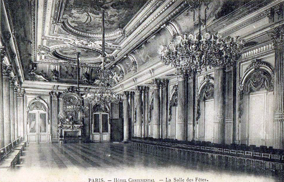 Inside the ballroom of the Hotel Continental, Paris