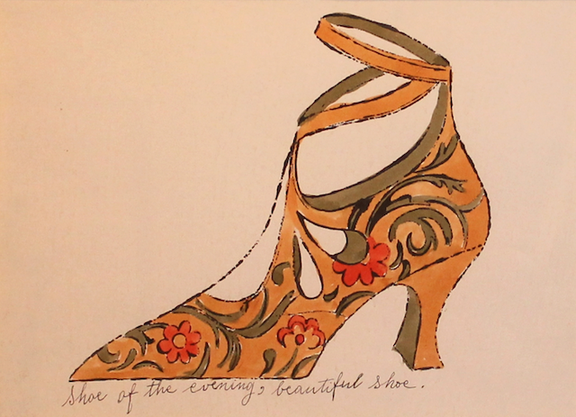 Shoe of the Evening Andy Warhol's 1955 Shoe of the Evening, Beautiful Shoe (from A La Recherche du Shoe Perdu) seems very appropriate post Met Ball 2013, which saw its star guests embrace this year's exhibition theme—Punk: Chaos to Couture—with aplomb.