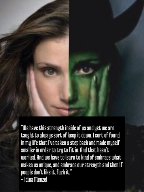 littlemisswicked25:  One of ( the many) reasons why I LOVE Idina Menzel!! Who else can relate to this quote? Because I know I can.