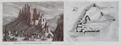 "Lednica Castle, Slovakia on the engravings of Carl Brandtl  y.1841 One of the most inaccessible castles in Slovakia. It looks like an eagles nest and it is believed to be a home of a ghost - White Lady. To get to the inner part of the castle, you have to walk the tunnel inside the rocky mountain and then take 80 steps of the stone stairway. Location on map: GPS: N49°6'47.92""   E18°12'20.12""  (Google Earth ) The castle is located on the cliff Kobulinka above Lednica village, at the altitude of 450 meters. It was built at the end of the 13th century as a seat of the Lednice estate and belonged to the group of royal castles. Imperial troops destroyed it at the beginning of the 18th century (1710). Only the remains of walls survive. Owned by several noble families : Marek of Lednica, Matúš Čák of Trenčín ""Lord of the river Váh and the Tatra Mountains"", Pakšiovci, Bielikovci, Podmanickovci, Imrich Telekeši, Rákocziovci, Maťašovskovci. (Several documents, especially of the 15th century are in Slovak language among others). The legend says that the spirit of the beautiful lady of the castle Katarína walks on top of them in the night. The lord of the castle kidnapped her on the day of her wedding but Katarína wearing the white gown preferred to jump down from the castle walls. If you would like to participate on the castle reconstruction, please contact the people here. VIA"