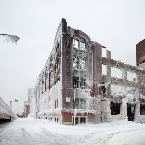 FIRE AND ICE Chicago-based Photographer David Schalliol The Frozen Aftermath of a Chicago Warehouse Fire. Temperatures were so low during the fire that water sprayed on the building froze almost instantly leaving behind a spectacularly beautiful ice-encrusted wonderland. [Via: thisiscolossal]