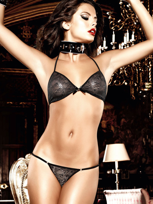 lavinialingerie:  Sheer Lace Black #Lingerie Set - Demi Cup Bra & String Thong