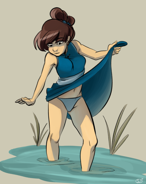 Commissions are open! I always draw this OC partially submerged in water for some reason. I forgot to mention I got frenden's brushes a while ago and they rock and you should get em. This was with the sumi brush.