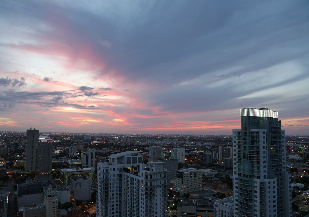 Clearing at dusk.Miami northwestward from Downtown©April 2013 Flickr/bobbydesimone