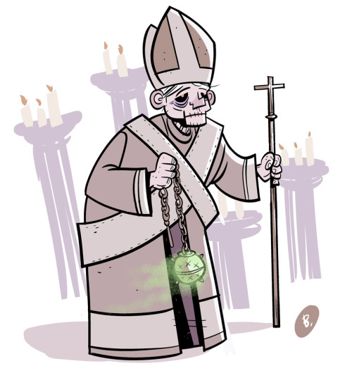 I wanted to do a timely illustration of retiring Pope Benedict MCMXLVII. Instead, he kind of looks like a lich. Which may, or may not be satire.