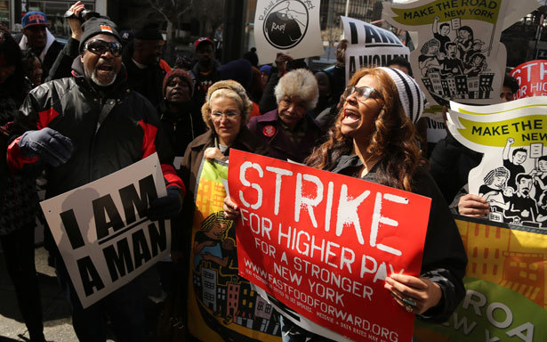"jayaprada:  ""Fast Food Forward"" workers and supporters picket outside Wendy's in New York, April 4, 2013. (AP Photo/Mary Altaffer) Low Wage Workers Unite  Behind this chipper façade, however, the 51st Street McDonald's is neither friendly nor wholesome, and dreams rarely come true, at least for the phalanx of underpaid workers—by and large Latino and African-American—who struggle to break the golden $7.25 an hour wage ceiling. While McDonald's profits jumped 135 percent between 2007 and 2011, enough to earn its last CEO $8.75 million a year and its new CEO $13.8 million a year, these workers are forced to survive without benefits, sick leave or a living wage. ""You can't be expected to survive on that little bit,"" said Alterique Hall, 24, who has been working as a supervisor at McDonald's for roughly three years. Hall earns $8.00 an hour, but his hours have been sliced over the years, and he frequently takes home as little as $60 to $100 a week. And so he often walks several hours to work from his home in Harlem because he can't afford subway fare. At times, he's relied on food stamps. As for his phone, it often gets cut off, because, he said, ""do you fall behind on the rent or do you pay the phone bill?"" If this were a typical narrative of low-wage labor—one of the many that unspools daily across New York's five boroughs—this is where Hall's story would begin and end: in the blunt grammar of need and struggle. But on November 29, 2012, after months of quiet organizing, Hall and his co-workers decided to rewrite this predictable tale. As part of Fast Food Forward, a new organizing initiative, they joined some 200 workers from across the fast-food spectrum—Burger King, Kentucky Fried Chicken, Domino's—in a one-day mass strike. Their demands: $15 an hour and the right to join a union. ""We're fighting because we refuse to tolerate the disrespect of being underpaid,"" said Hall. ""I'm worth more than a minimum wage; I'm worth a living wage."" In the annals of low-wage labor, the story of Fast Food Forward is a startling tale, not the least because the November strike was widely believed to be the largest mobilization of fast-food workers in United States history—until that record was broken in April when some 400 workers struck again. But the fast food campaign is also an important part of an emerging New York tale. Despite the profusion of low-wage jobs, grassroots labor campaigns have been few and far-between in these parts. Here, as elsewhere, the labor movement has been under attack—from big business, small business and, not the least, the mayor, whose distaste for unions is so strong that he frequently refers to them simply as ""special interests."" And here, as elsewhere, unions have struggled to adapt to the changing shape, and face, of the economy. Many simply haven't bothered. And yet, throughout the last few years, the ground has been shifting. Taxi workers and domestic workers were among the first to begin agitating, blending inventive union drives with legislative campaigns. And now, others have joined the fray. At carwashes and groceries, airports and fast-food joints—at some of the most feudal work sites in the city—workers have begun banding together, demanding safeguards against the freefall of the low-wage service economy. To be sure, the proportion of workers involved in these campaigns is modest. But the efforts come at a dire moment. As the steady thrum of organized manufacturing has given way to the feeble throb of service work, more and more New Yorkers have been tossed into the grind of low-pay, low-security employment. In 2011, some 600,000 New Yorkers earned less than $10 an hour, a wage that would hardly pays the bills in a less bank-breaking city. Within this underpaid demographic, roughly 42 percent work in retail and food services, while a mix of home health aides, waiters, stock clerks, domestic workers, groundskeepers and others fills in the rest. And the Great Recession merely intensified this trend. Between July 2008 and January 2013, as the city hemorrhaged decent-paying jobs—41,000 middle-wage jobs and 19,000 high-paying ones—the number of low-wage jobs soared by 130,000. This is the unforgiving environment in which the various new organizing efforts have emerged, a bit like water crystals on Mars: not exactly guarantees of future multi-cellular life, but certainly a sign of its possibility. Because the organizing terrain is so tough, many of these efforts have tended to be fairly non-traditional, with community groups joining together with unions to push, pressure and prod by as many means as possible: through union drives, advocacy efforts, policy pushes and law suits. In some instances, sprawling coalitions have joined forces to push significant legislative changes, like the paid sick-leave act, which will guarantee sick leave to more than a million New Yorkers—once, that is, the City Council overrides a likely mayoral veto. ""I don't think we know yet if any one of these projects, every one of these models, will bear fruit in terms of unionization,"" said Fine. But, she added, ""I think that the future of labor organizing…is here, in that it's going to be a combination of creative new models pushing the limits of what's allowed by existing labor law and supplementing that with smart public policy at the local and state levels."""