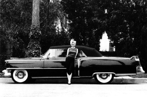 drunkcle:  Marilyn and her 1954 black Cadillac convertible