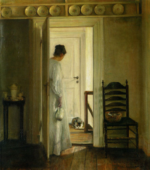 labellefilleart:  A Saucer of Milk, Carl Vilhelm Holsøe