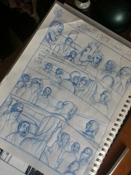 Rough layouts of page 197… Drawing my comics in between working on colour flats.
