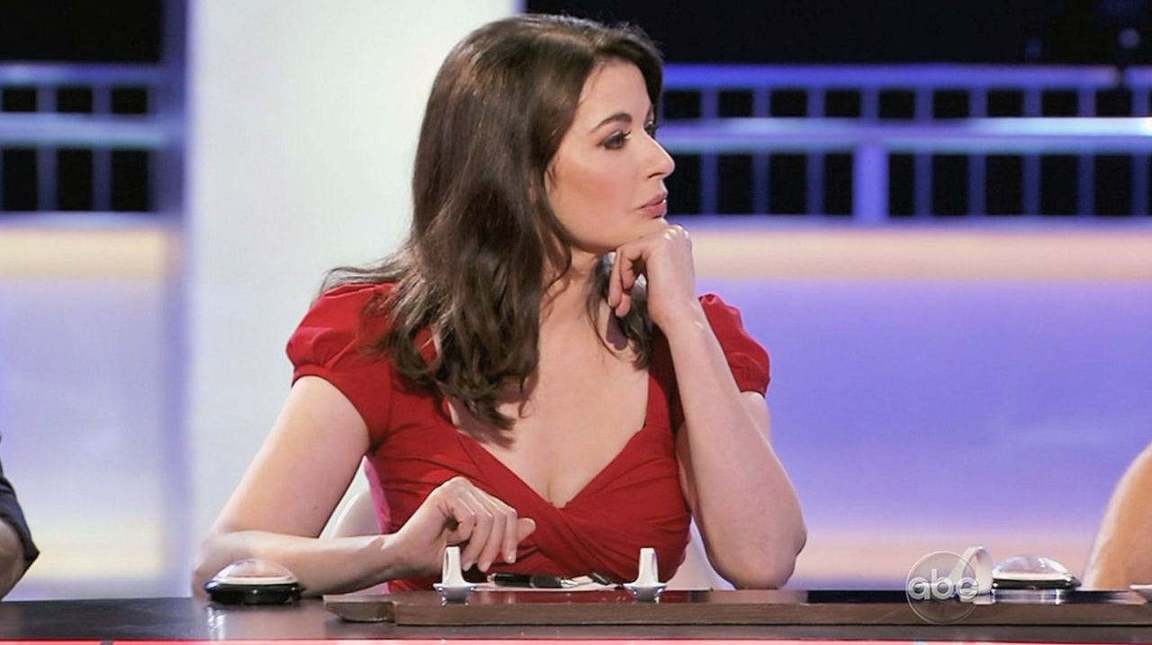 Nigella Lawson in a low-cut dress