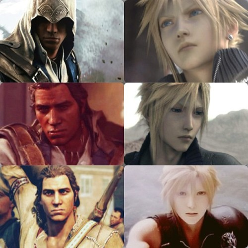 Good morning :) #favs #connorkenway #cloudstrife #finalfantasy7 #ffvii #ff7 #ac #ac3 #ratonhnaké:ton #mornin #connor #cloud #kenway #strife