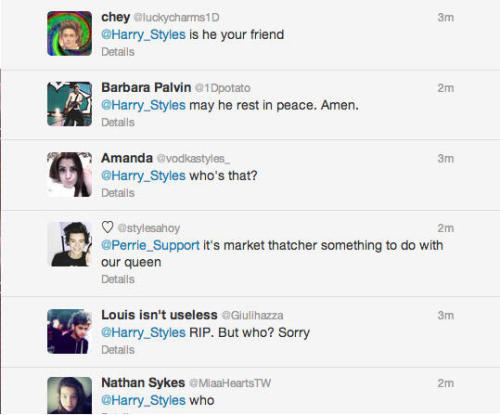 sexualfavours:  directioners react to margaret thatcher's death